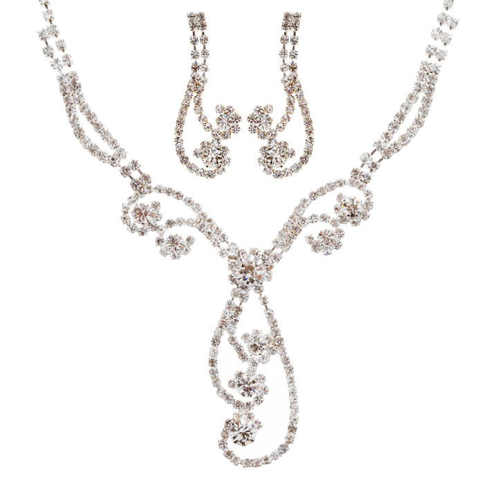 Bridal Wedding Jewelry Set Prom Crystal Rhinestone Elegant Necklace J462 SV