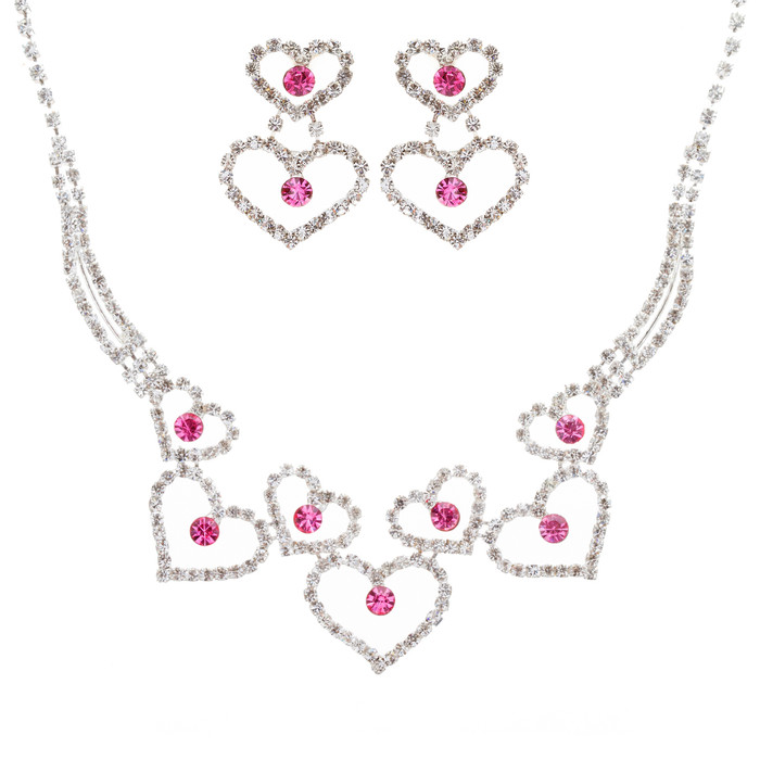 Valentines Jewelry Bridal Wedding Prom Fashion Heart Link Necklace Set J467 Pink