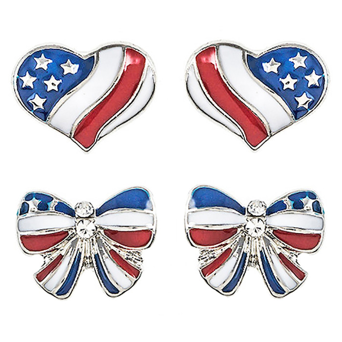 Patriotic Jewelry American Flag Heart Ribbon 2 Pairs Fashion Earrings E1206