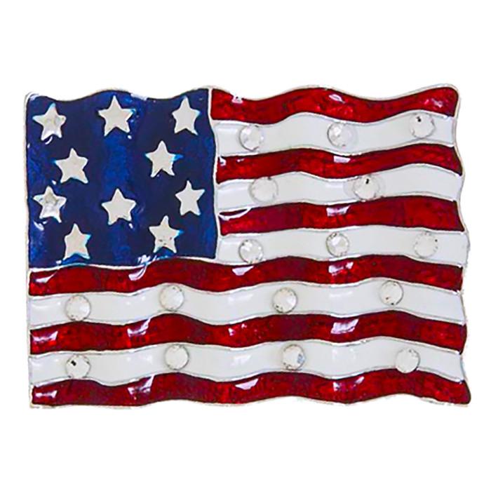 Patriotic Jewelry American Flag Crystal Rhinestone Brooch Pin BH225 Silver