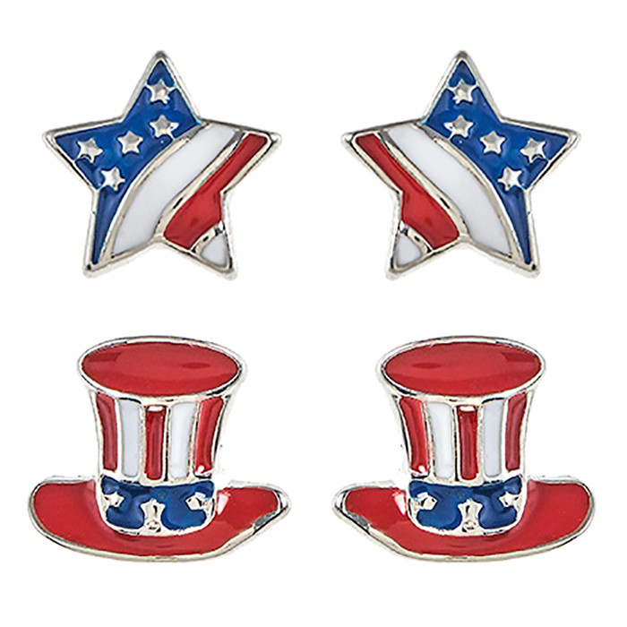 Patriotic Jewelry American Flag Star Hear 2 Pairs Fashion Earrings E1212 Silver