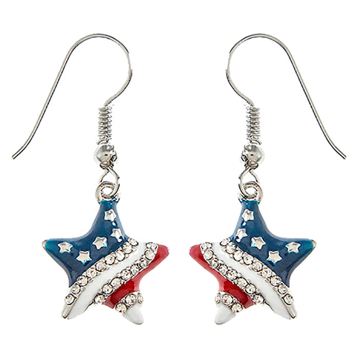 Patriotic Jewelry American Flag Crystal Rhinestone Star Dangle Earrings E1213