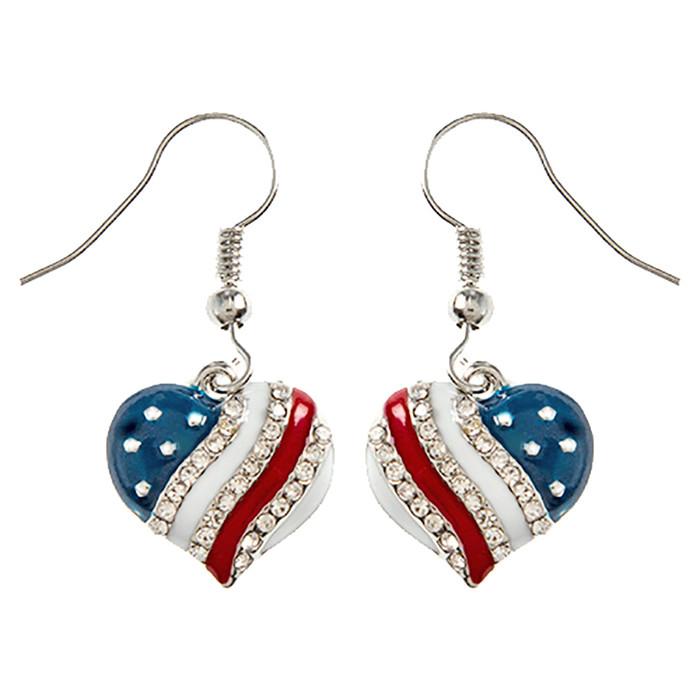 Patriotic Jewelry American Flag Crystal Rhinestone Heart Dangle Earrings E1214