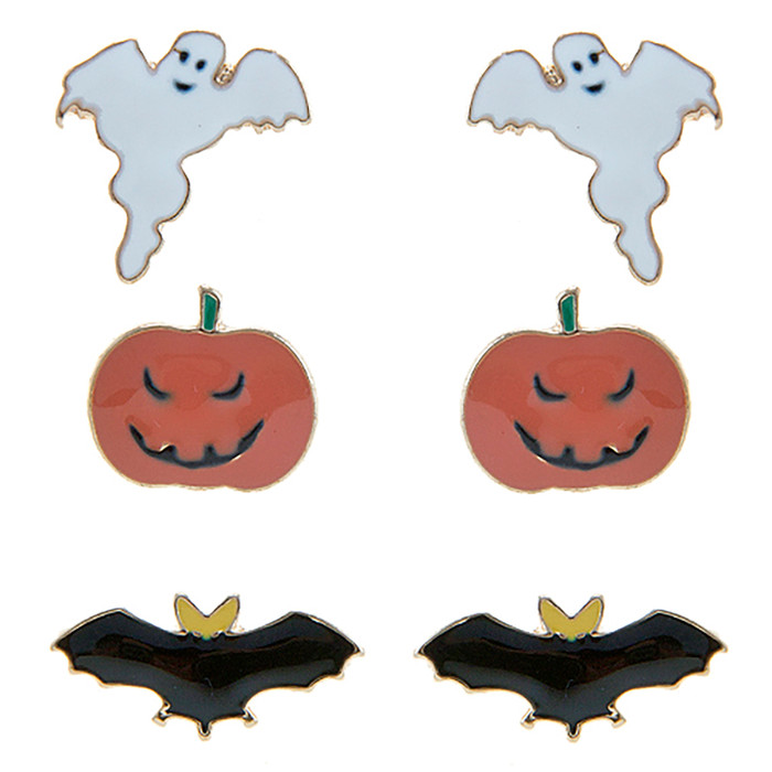 Halloween Costume Jewelry Ghost Pumpkin Bat 3 Sets Mini Earrings E1221