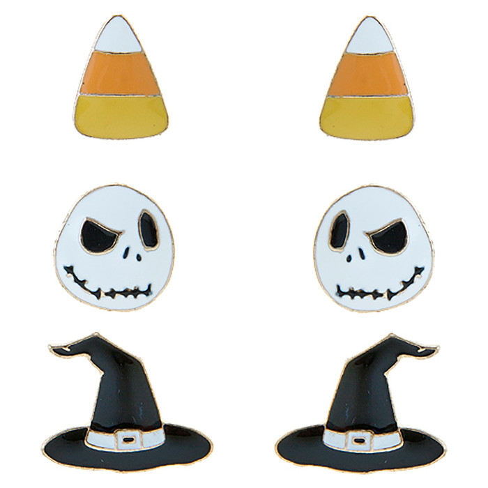 Halloween Costume Jewelry Candy Corn, Skull, Hat 3 Sets Mini Earrings E1221