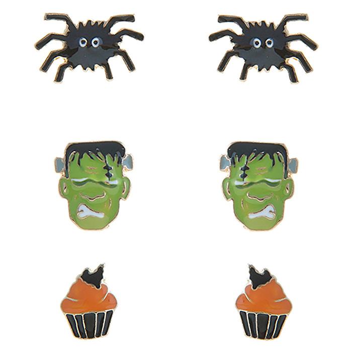 Halloween Costume Jewelry Spider Frankenstein Cupcake 3 Sets Mini Earrings E1221