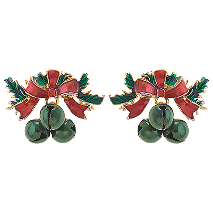 Christmas Jewelry Holiday Bow Bell Beautiful Stud Style Earrings E1222 Green