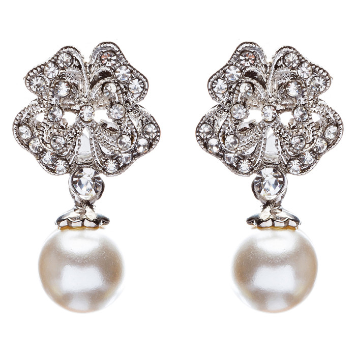 Bridal Wedding Jewelry Crystal Rhinestone Pearl Drop Dangle Earrings E482