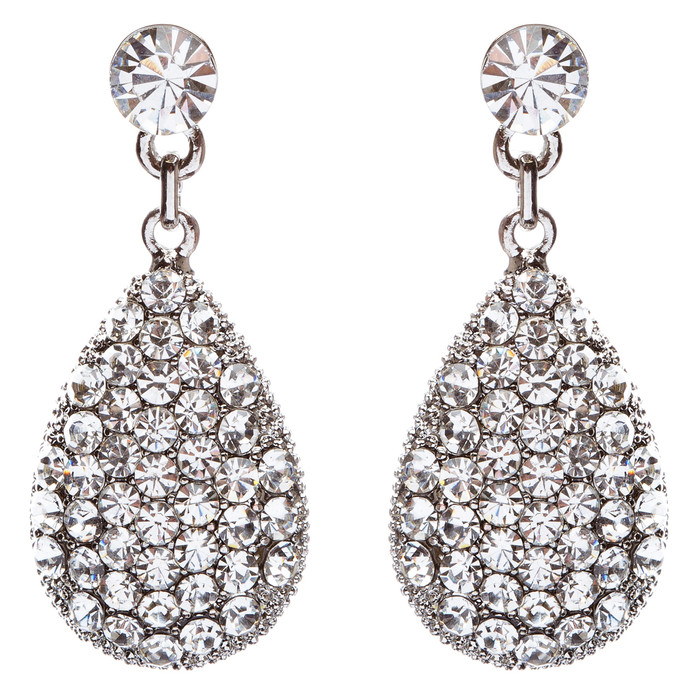 Bridal Wedding Prom Jewelry Crystal Rhinestone Teardrop Dangle Earrings E873