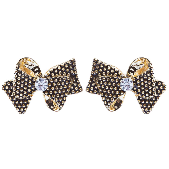 Class Ribbon Bow Tie Design Crystal Rhinestone Pave Earrings E505 Gold Black