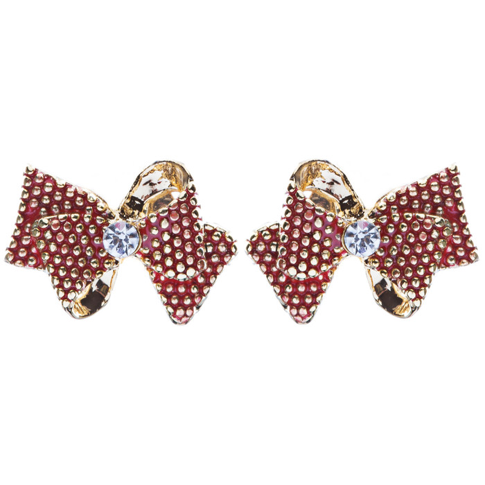 Classic Ribbon Bow Tie Design Crystal Rhinestone Pave Earrings E505 Gold Red