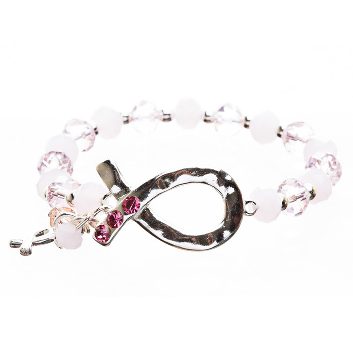 Pink Ribbon Jewelry Breast Cancer Awareness Adorable Link Ribbon Bracelet B404SL