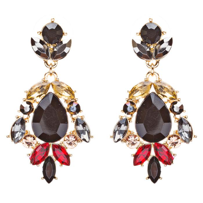 Modern Fashion Crystal Rhinestone Stylish Dangle Earrings E707 Black