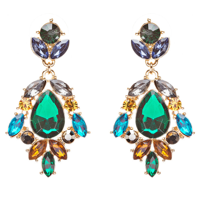 Modern Fashion Crystal Rhinestone Stylish Dangle Earrings E707 Green