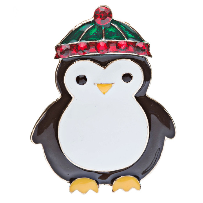 Christmas Jewelry Crystal Rhinestone Cute Penguin Hat Brooch Pin Gold Red BH66