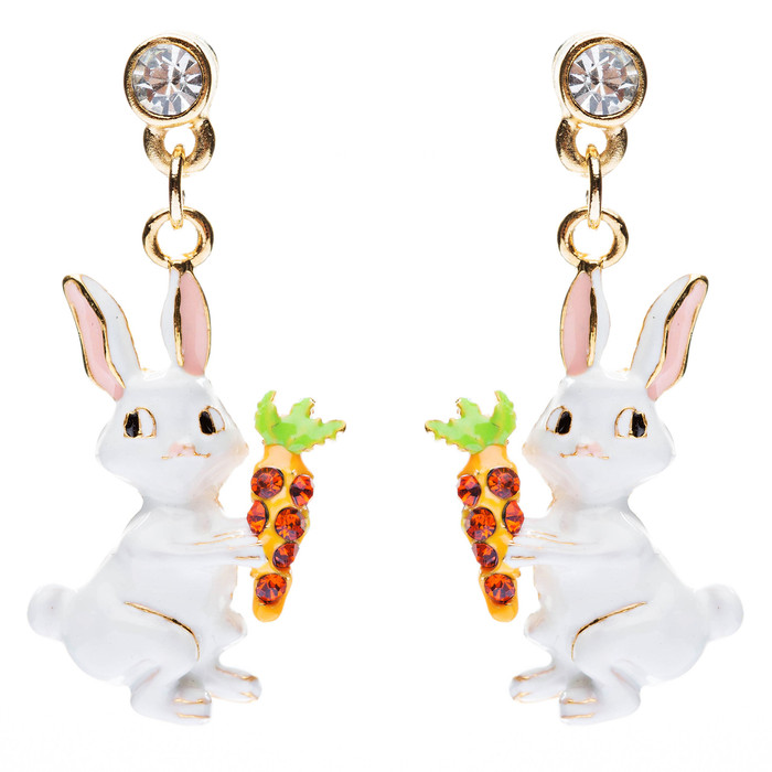 Spring Easter Jewelry Crystal Rhinestone Cute Bunny Rabbit Charm Earrings E594