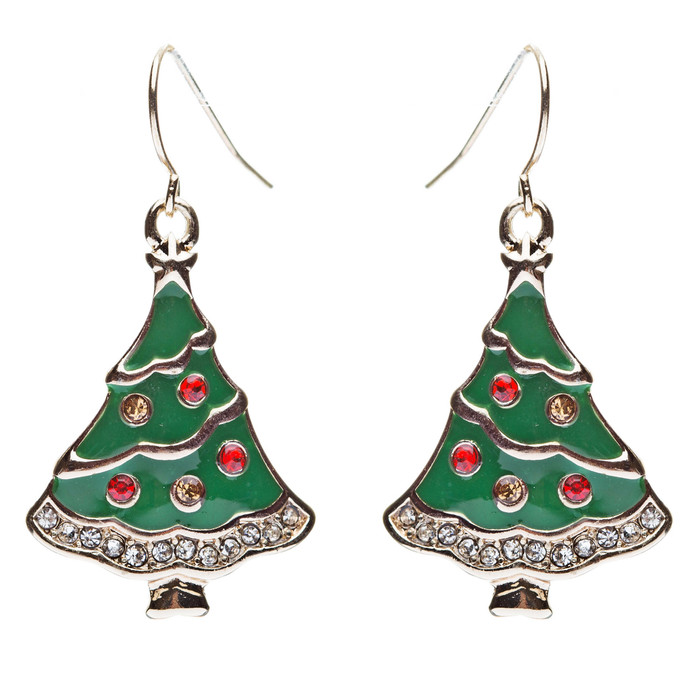 Christmas Jewelry Crystal Rhinestone Gorgeous Dazzle Tree Charm Earrings E643