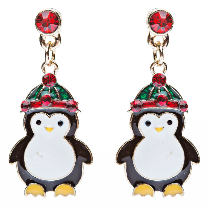Christmas Jewelry Crystal Rhinestone Adorable Cute Penguin Hat Earrings E644