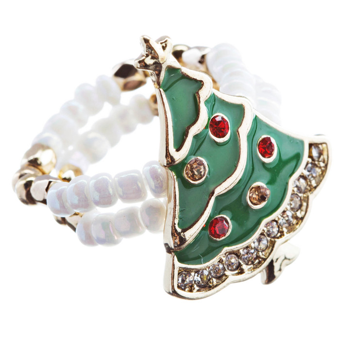 Christmas Jewelry Rhinestone Cute Snowman Charm Stretch Fashion Ring R190