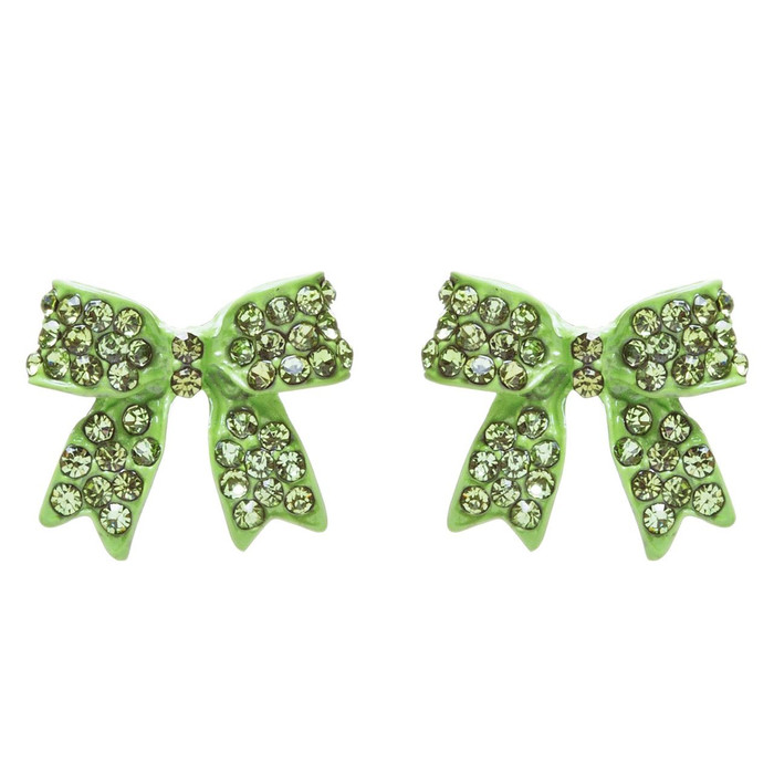 Fashion Crystal Pave Bow Ribbon Stud Earrings Green E326