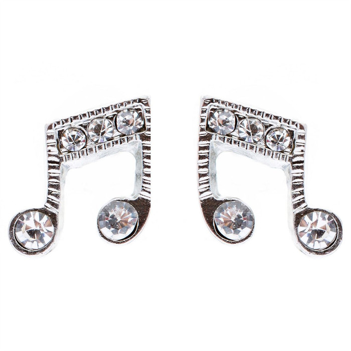 Music Note Charm Crystal Rhinestone Fashion Stud Style Earrings E473 Silver