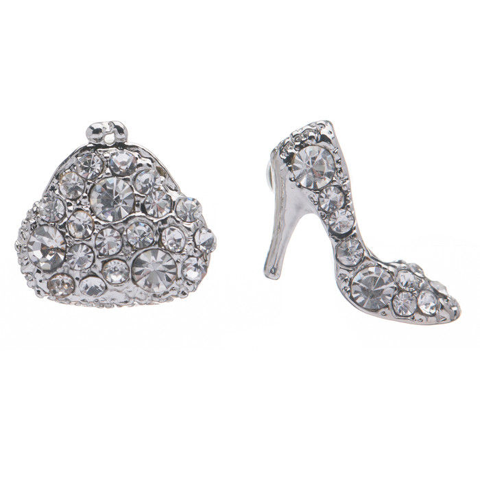 Adorable Purse High Heel Shoes Stud Style Rhinestone Fashion Earrings E487