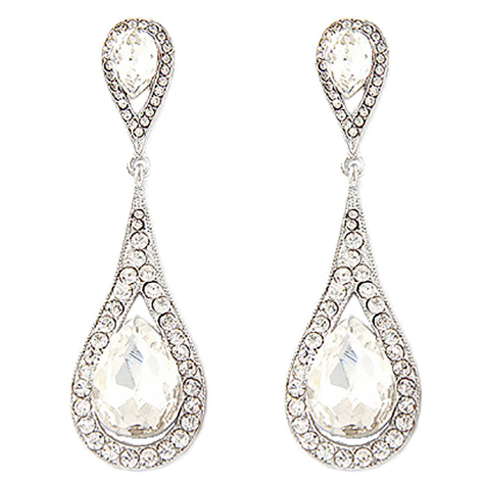 Bridal Wedding Jewelry Prom Beautiful Crystal Rhinestone Dangle Earrings E613
