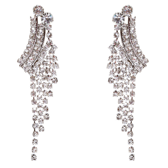 Bridal Wedding Jewelry Crystal Rhinestone Cascading Dangle Earrings E946 Silver