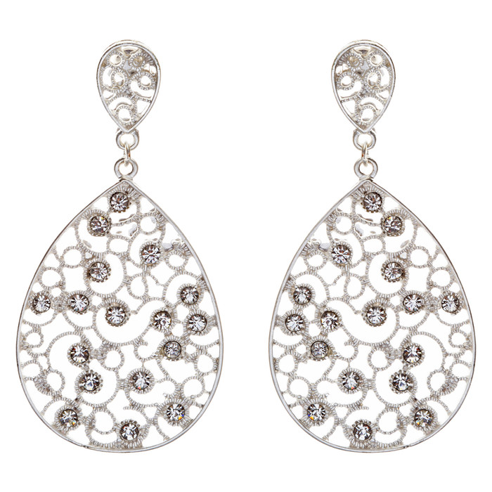 Dazzling Swirl Pattern Crystal Rhinestone Bridal Prom Fashion Earrings E314 SV