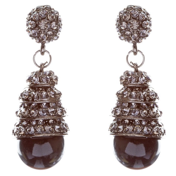 Sophisticated Elegant Crystal Rhinestone Dangle Fashion Earrings E325 Black