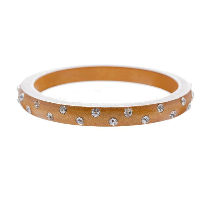 Fashion Crystal Rhinestone Wood Chic Stylish Bangle Bracelet Medium Brown
