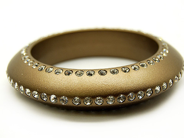 Crystal Studs Lucite Bangle 3/4 Inch Wide Copper Gold