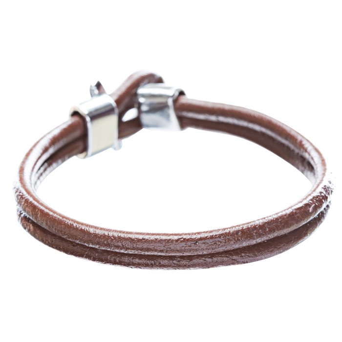 2-Strand Loop with T Clasp Leather Bracelet Brown