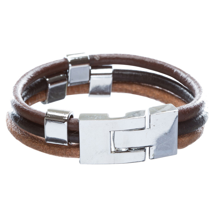 3-Strand T Clasp Leather Bracelet Multi Color