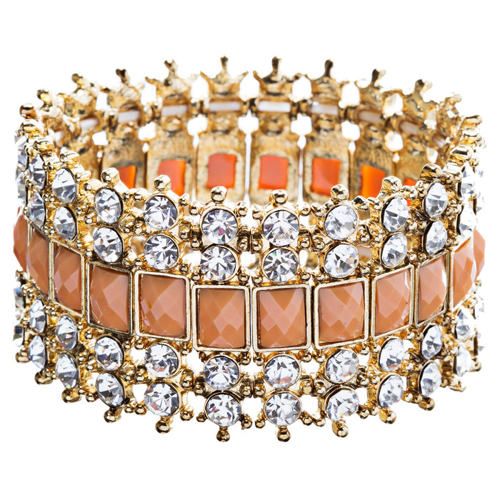 Crystal Stretch Cuff Vintage Fashion Bracelet Gold