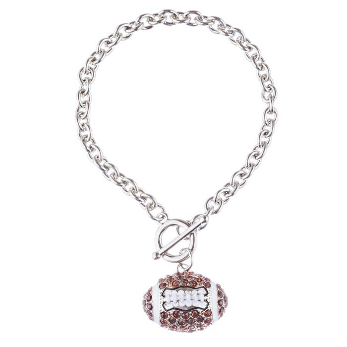 "Sport Football Crystal Rhinestone 7"" Toggle Fashion Bracelet Silver Brown"