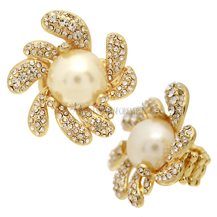 Pearl Accented Swirly Crystal Pave Flower Stretch Ring