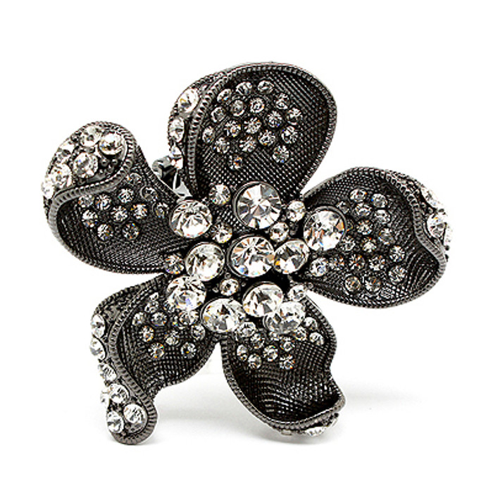 Beautiful Fashion Chunky Big Floral Stretch Ring Black