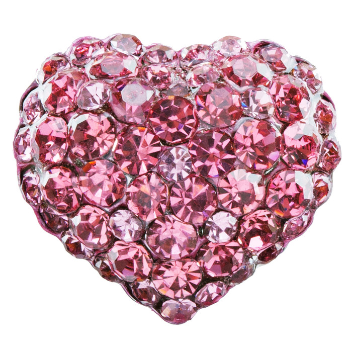 Beautiful Fashion Heart Shape Crystal Stretch Ring Pink
