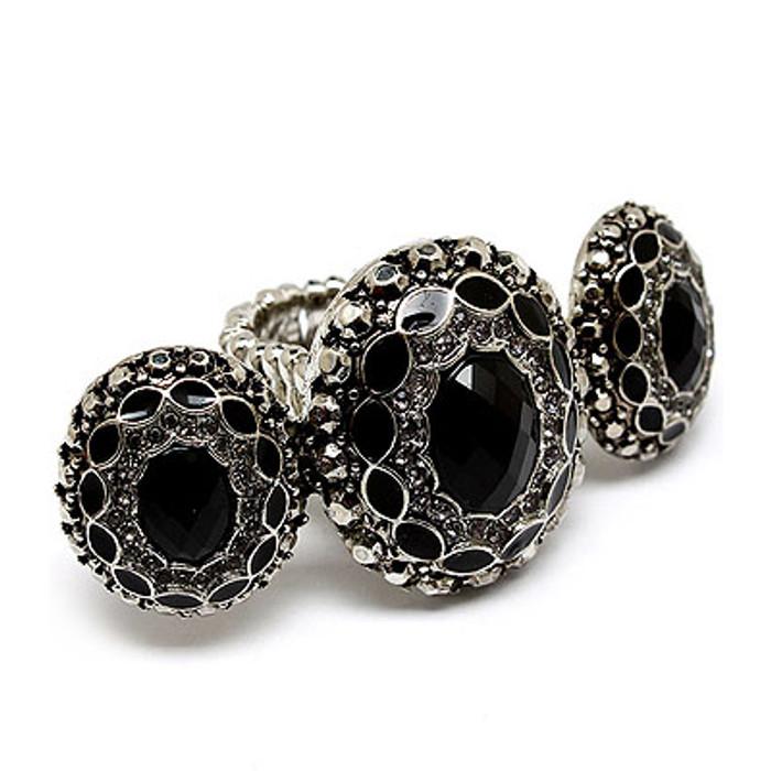 Vintage Antique Fashion Crystal Stretch Ring Black