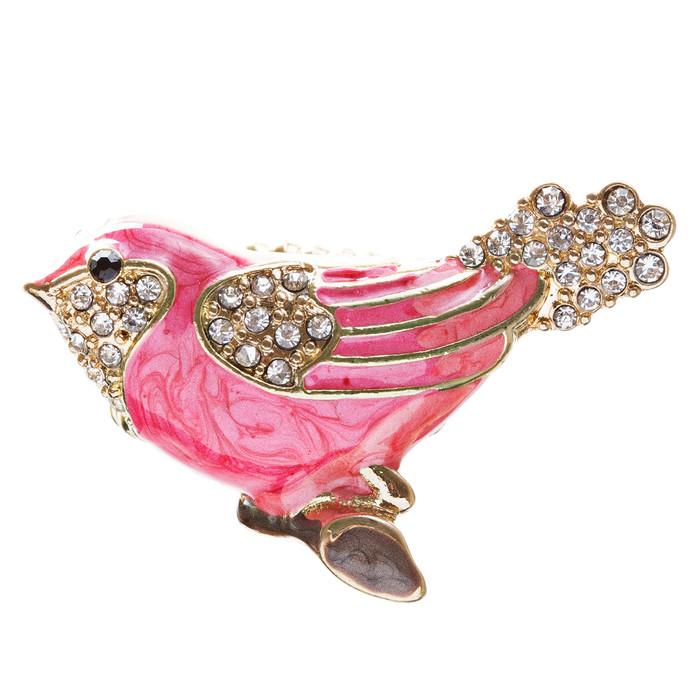 Bird Enamel Crystal Animal Stretch Fashion Ring Purple