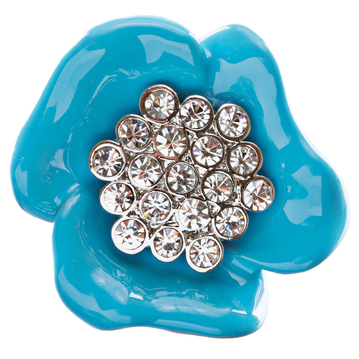 Beautiful Floral Crystal Adjustable 1 Ring Blue