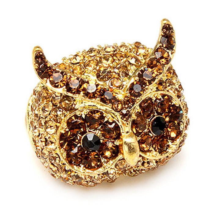 Owl Animal Crystal Rhinestone Stretch Ring Gold Topaz