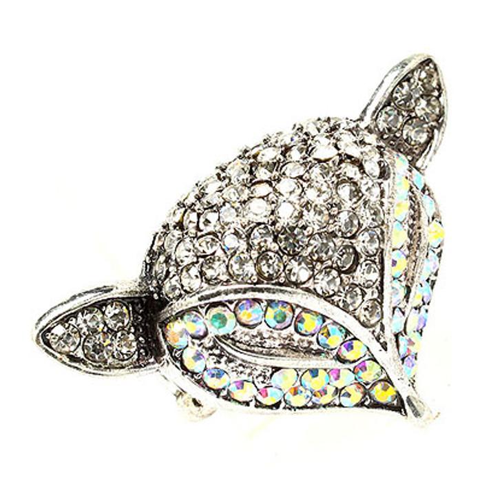 Fox Head Crystal Animal Stretch Adjustable Fashion Ring Antique Silver AB Clear