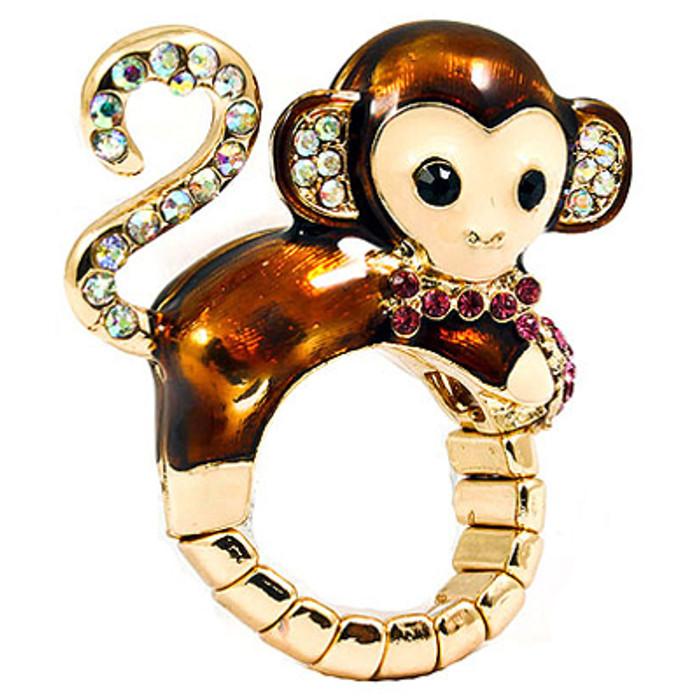 Cute Monkey Crystal Enamel Stretch Adjustable Fashion Cocktail Ring Gold Brown