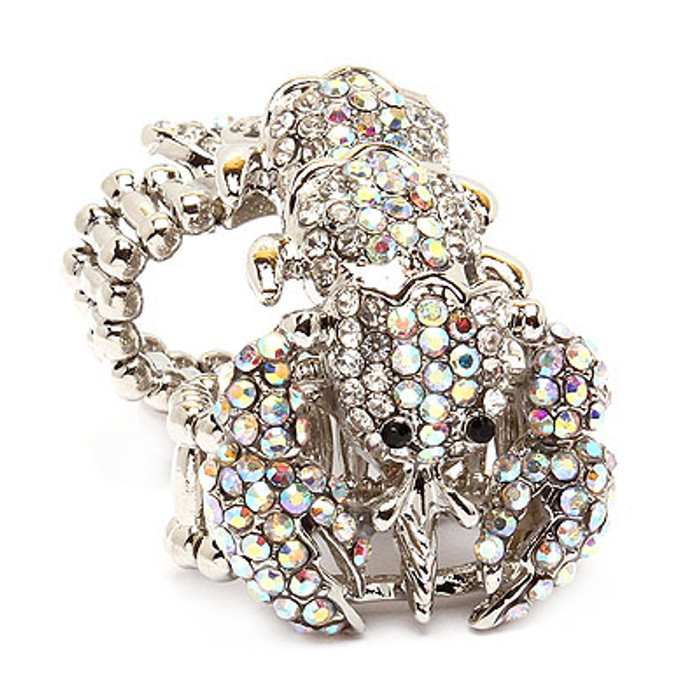 Scorpion Double Band Crystal Rhinestone Stretch Adjustable Cocktail Ring Silver