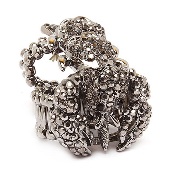 Scorpion Double Band Crystal Rhinestone Stretch Adjustable Cocktail Ring Gray