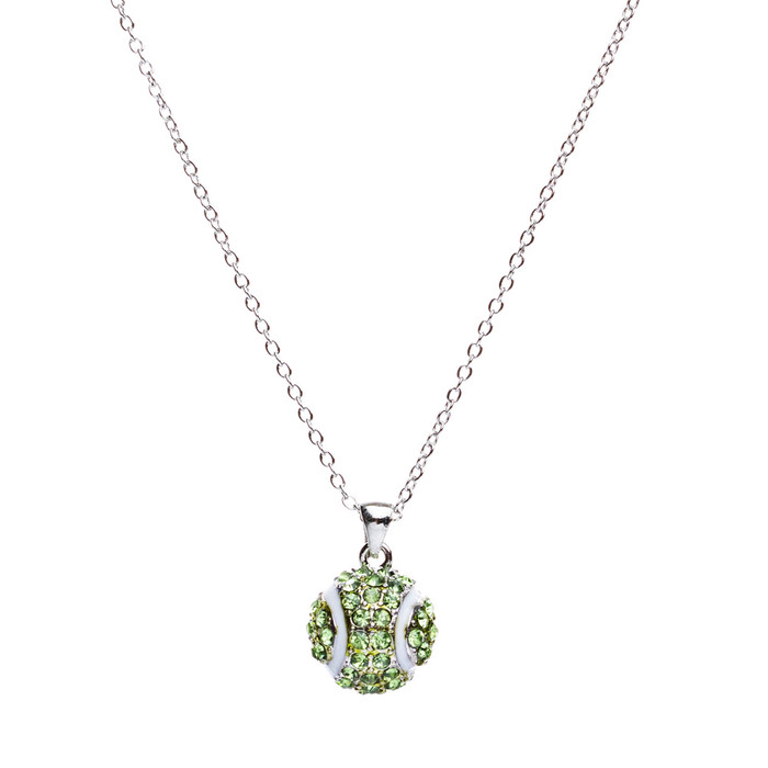 "Sport Tennis Ball Crystal Rhinestone 14mm 18"" Long Fashion Necklace Silver Green"