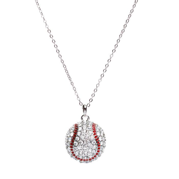 """Sport Baseball Crystal Rhinestone 20mm 18"""" Long Fashion Necklace Silver Clear"""
