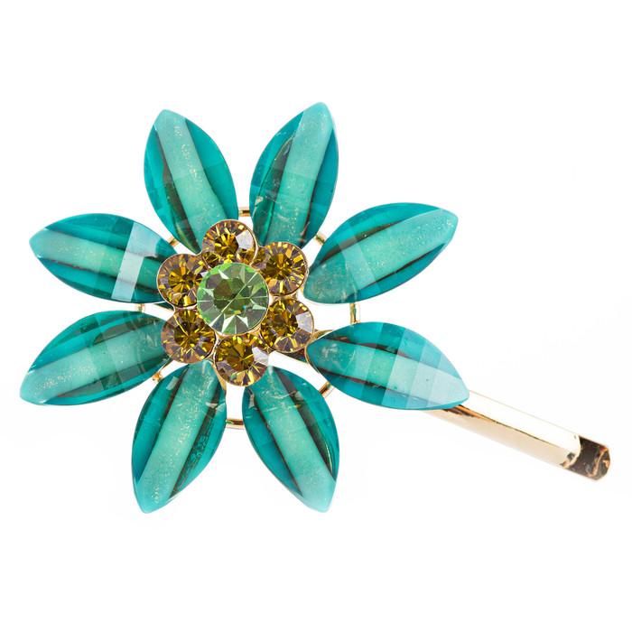H016 Austrian Crystal Hair Claw Clip Jewelry Blue Green